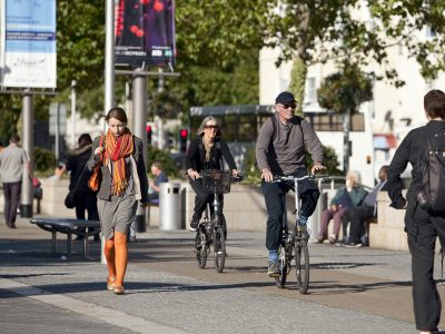Cyclists and pedestrians in a city centre