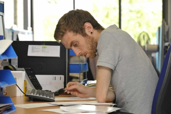 A man working at a desk