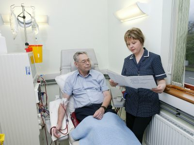 A patient receiving dialysis
