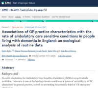 Associations of GP practice characteristics with the rate of ambulatory care sensitive conditions in people living with dementia in England: an ecological analysis of routine data - paper