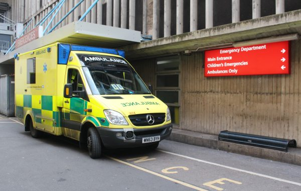 An ambulance outside the emergency department at the Bristol Royal Infirmary