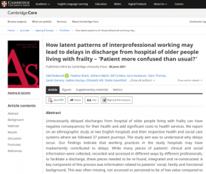 How latent patterns of interprofessional working may lead to delays in discharge from hospital of older people living with frailty – 'Patient more confused than usual?'