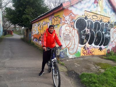 Abiir Omar on her bike on the Railway Path
