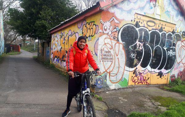Abiir Omar on her bike on the Railway Path