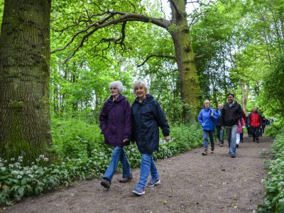 People walking in the woods in Gloucestershire