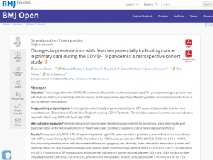 Screen shot of the RAPCI cancer indicator reporting paper in BMJ Open