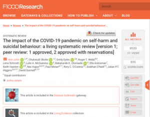 The impact of COVID-19 on self-harm and suicidal behaviour: a living systematic review version 1