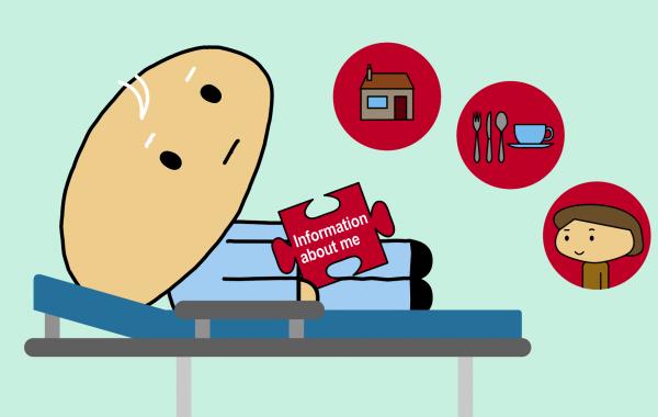 Illustration of frail older hospital patient.