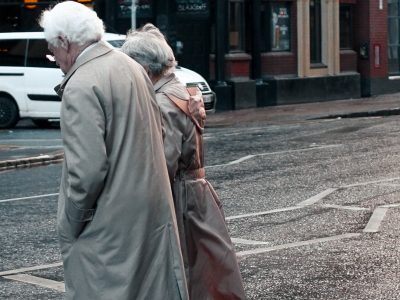 An older couple walking in Belfast