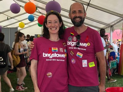Emer Brangan with a member of the Brigstowe team at Bristol Pride 2019