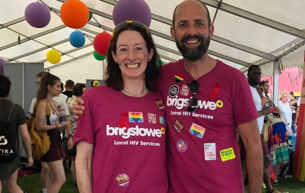 Emer Brangan with a member of the Brigstowe team at Bristol Pride 2019