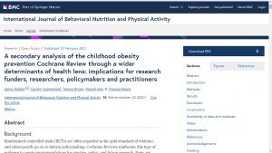 Screen shot of the childhood obesity Cochrane Review secondary analysis paper