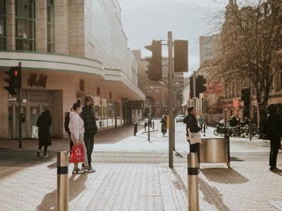 Shoppers in Bristol wearing face masks