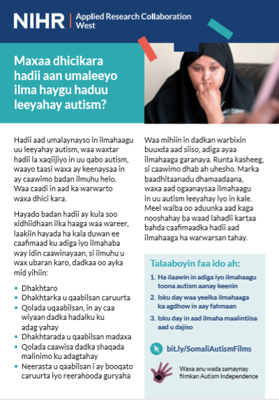 What happens if I think my child has autism factsheet in Somali