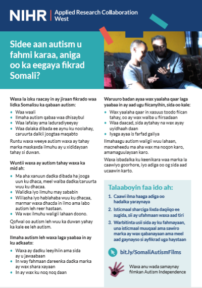How can I understand autism from a Somali perspective factsheet in Somali