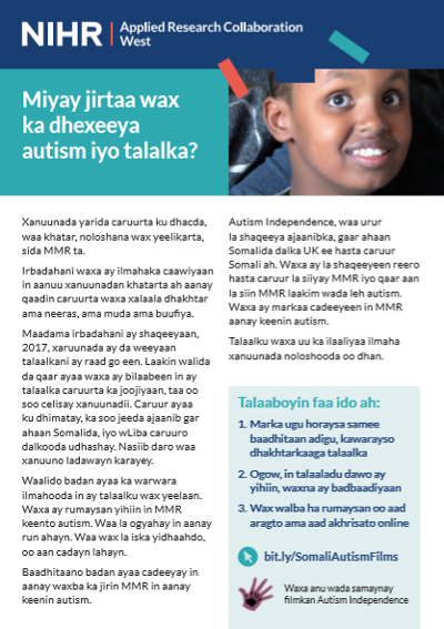 Is there a link between autism and vaccinations factsheet in Somali