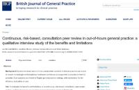 BJGP paper on GP peer review