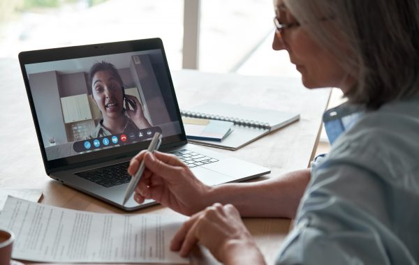 Two women on a work video call