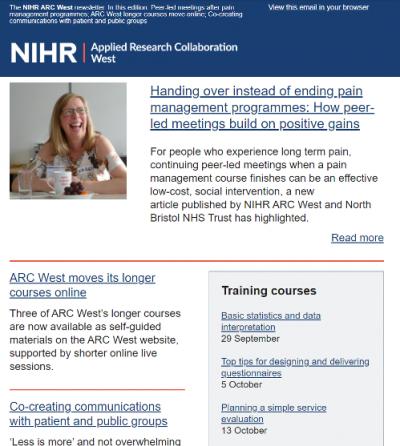 Screenshot of the September ARC West email newsletter