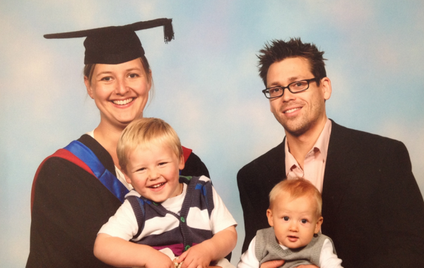 Elaine Willmore and family on MSc graduation day